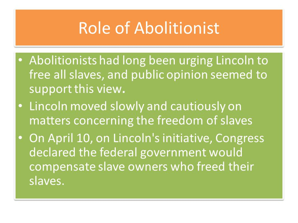 Role of Abolitionist Abolitionists had long been urging Lincoln to free all slaves, and public opinion seemed to support this view.