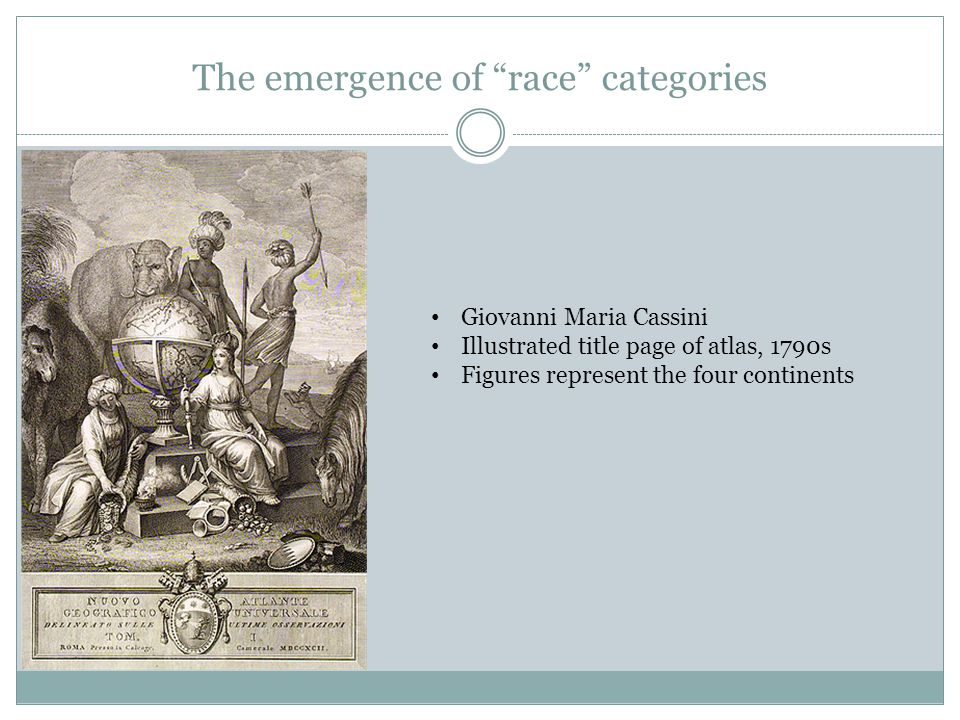 The emergence of race categories Giovanni Maria Cassini Illustrated title page of atlas, 1790s Figures represent the four continents