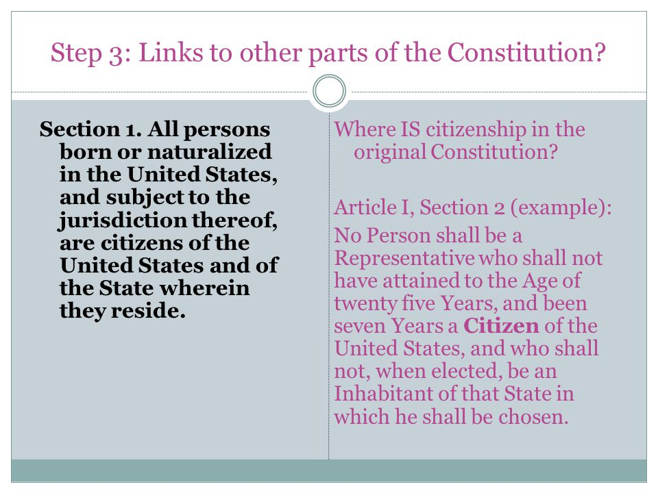 Step 3: Links to other parts of the Constitution. Section 1.