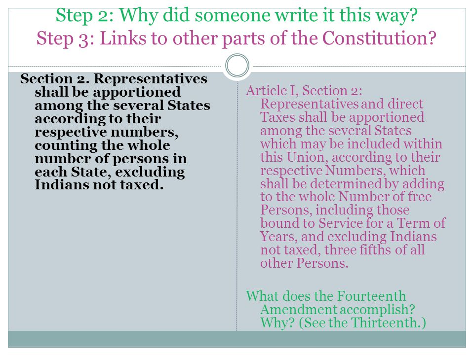 Step 2: Why did someone write it this way. Step 3: Links to other parts of the Constitution.