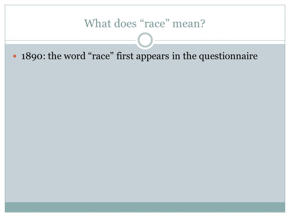 What does race mean 1890: the word race first appears in the questionnaire