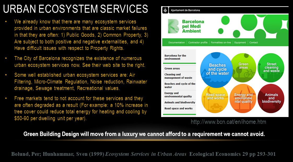 URBAN ECOSYSTEM SERVICES We already know that there are many ecosystem services provided in urban environments that are classic market failures in tha