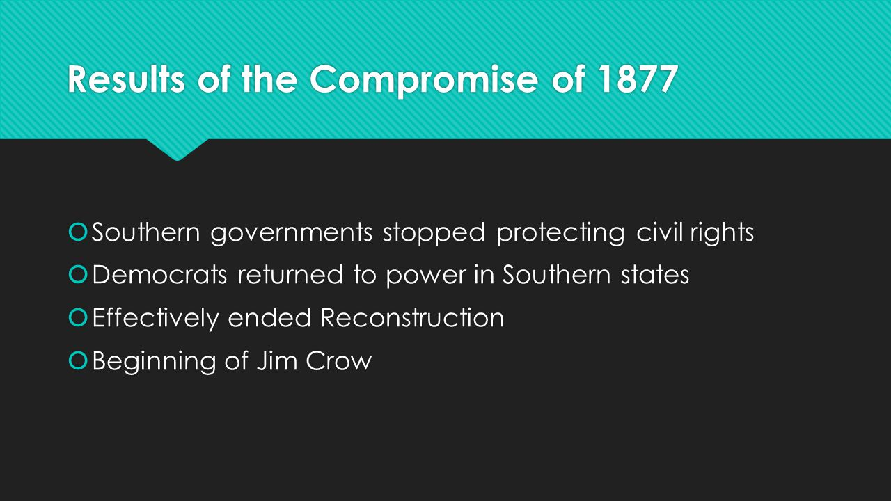 Results of the Compromise of 1877  Southern governments stopped protecting civil rights  Democrats returned to power in Southern states  Effectivel