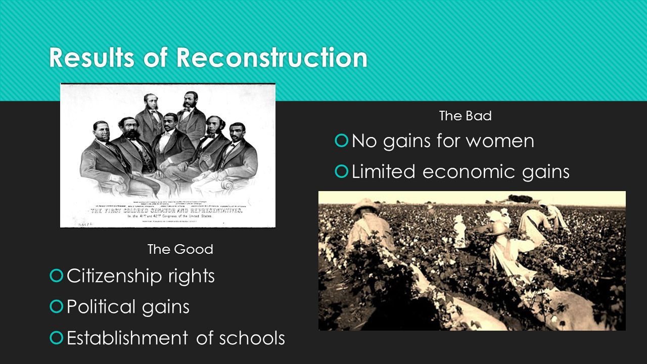 Results of Reconstruction The Good  Citizenship rights  Political gains  Establishment of schools The Bad  No gains for women  Limited economic g