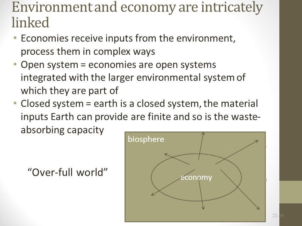 Environment and economy are intricately linked Economies receive inputs from the environment, process them in complex ways Open system = economies are open systems integrated with the larger environmental system of which they are part of Closed system = earth is a closed system, the material inputs Earth can provide are finite and so is the waste- absorbing capacity 21-36 biosphere economy biosphere Over-full world