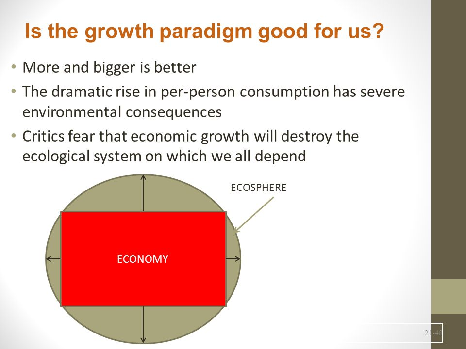 21-48 More and bigger is better The dramatic rise in per-person consumption has severe environmental consequences Critics fear that economic growth will destroy the ecological system on which we all depend Is the growth paradigm good for us.