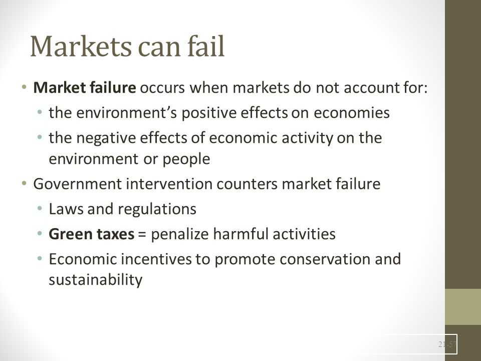 Markets can fail Market failure occurs when markets do not account for: the environment's positive effects on economies the negative effects of economic activity on the environment or people Government intervention counters market failure Laws and regulations Green taxes = penalize harmful activities Economic incentives to promote conservation and sustainability 21-57