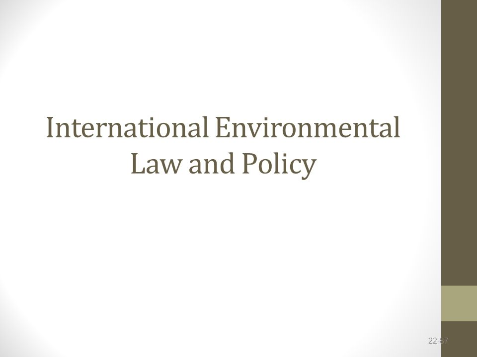 International Environmental Law and Policy 22-87