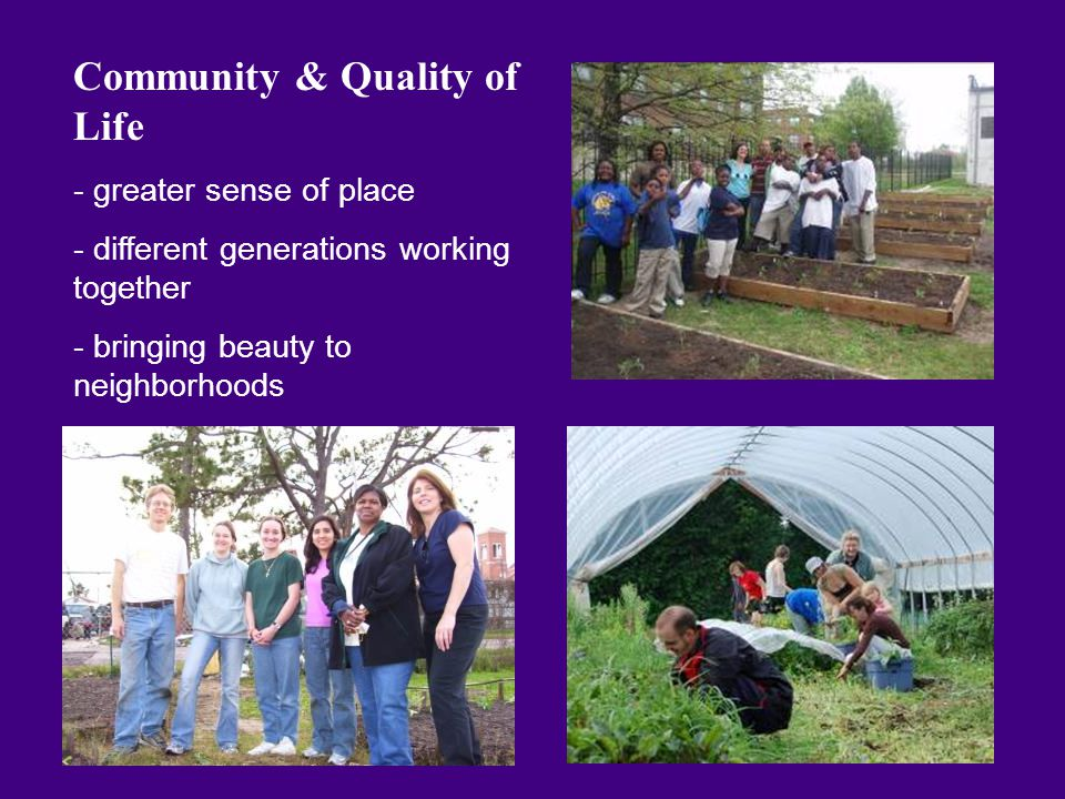 Community & Quality of Life - greater sense of place - different generations working together - bringing beauty to neighborhoods