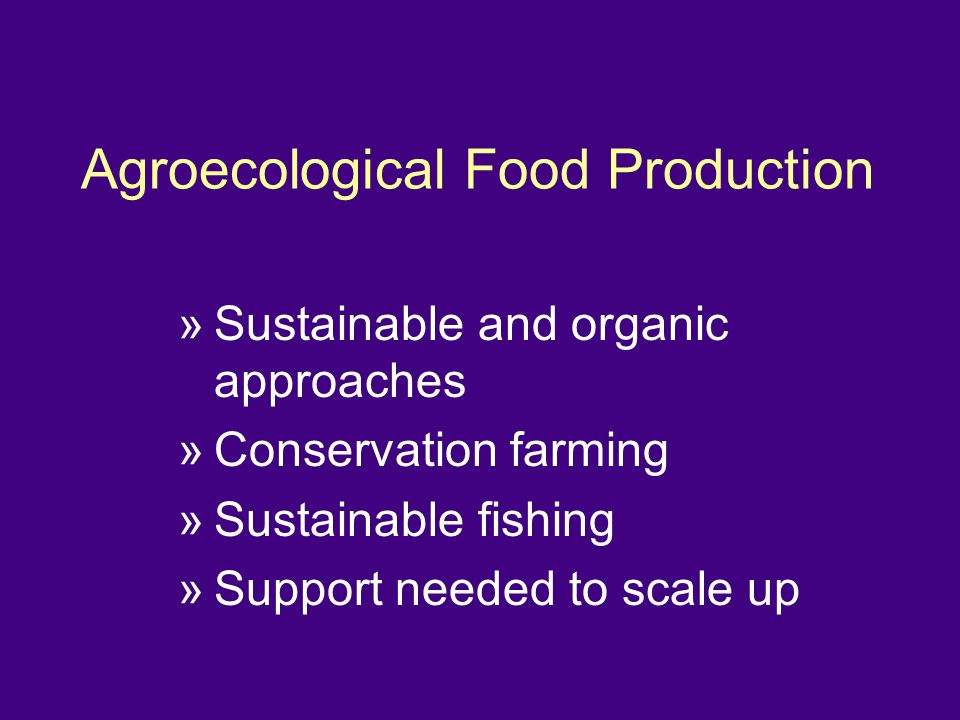Agroecological Food Production »Sustainable and organic approaches »Conservation farming »Sustainable fishing »Support needed to scale up