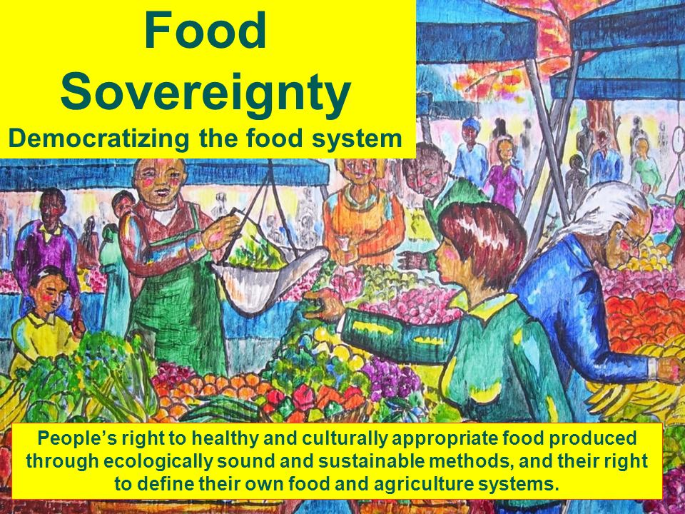 Food Sovereignty Democratizing the food system People's right to healthy and culturally appropriate food produced through ecologically sound and sustainable methods, and their right to define their own food and agriculture systems.