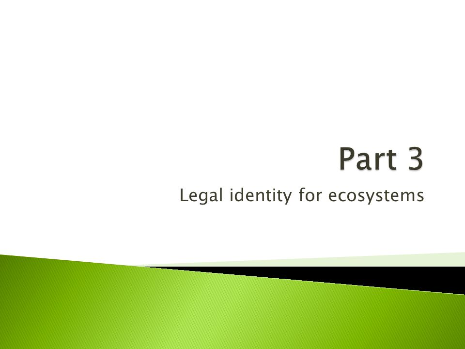 Legal identity for ecosystems