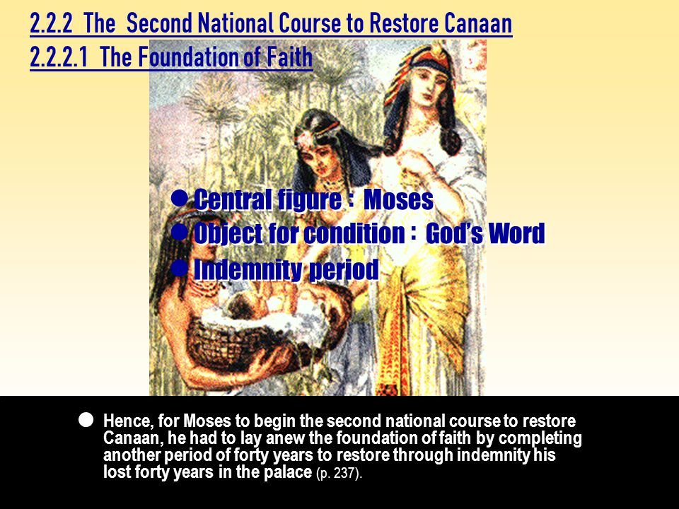 2.2.2.1 The Foundation of Faith Indemnity period  Central figure : : Moses  Object for condition God's Word : :  2.2.2 The Second National Course to Restore Canaan Hence, for Moses to begin the second national course to restore Canaan, he had to lay anew the foundation of faith by completing another period of forty years to restore through indemnity his lost forty years in the palace (p.