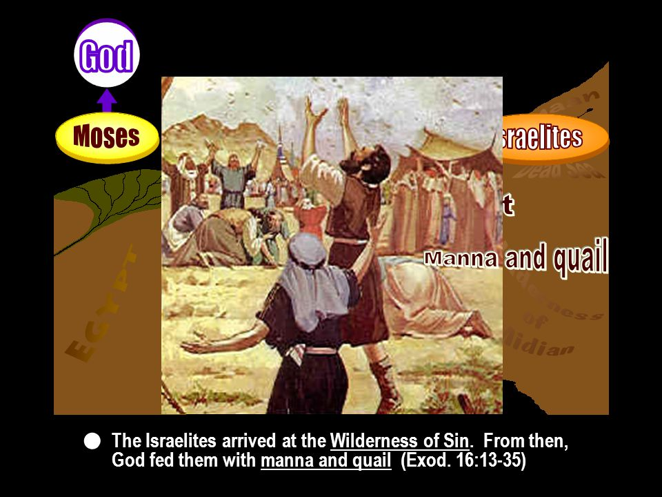 Foundation of substance Foundation of substance The Israelites arrived at the Wilderness of Sin.