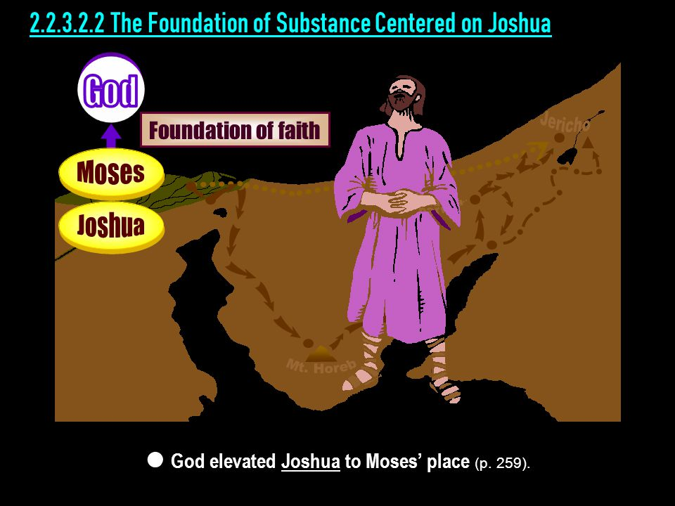 2.2.3.2.2 The Foundation of Substance Centered on Joshua God elevated Joshua to Moses' place (p.