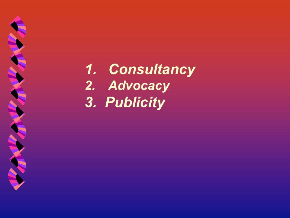 1.Consultancy 2.Advocacy 3. Publicity