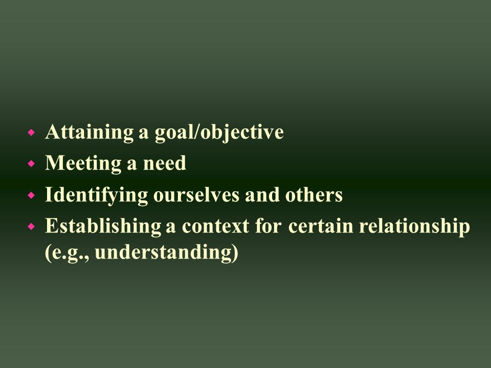 w Attaining a goal/objective w Meeting a need w Identifying ourselves and others w Establishing a context for certain relationship (e.g., understandin
