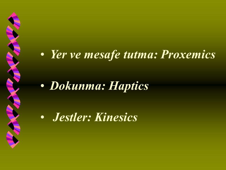 Yer ve mesafe tutma: Proxemics Dokunma: Haptics Jestler: Kinesics