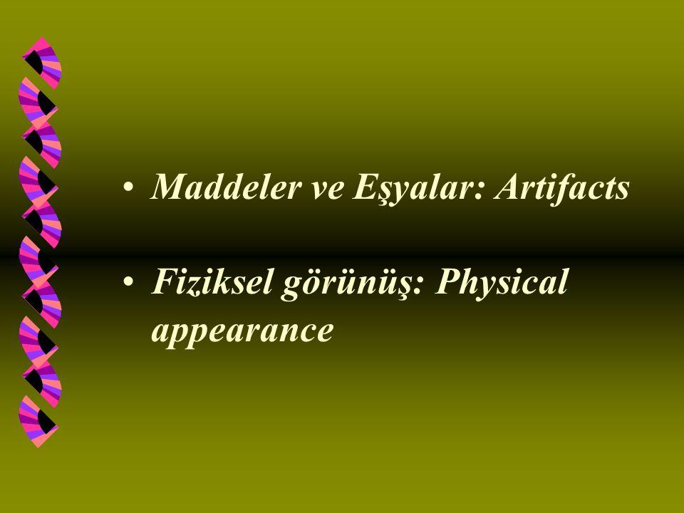 Maddeler ve Eşyalar: Artifacts Fiziksel görünüş: Physical appearance
