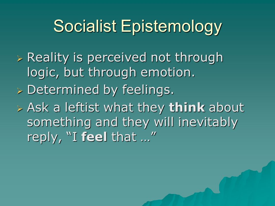 Socialist Epistemology  Reality is perceived not through logic, but through emotion.