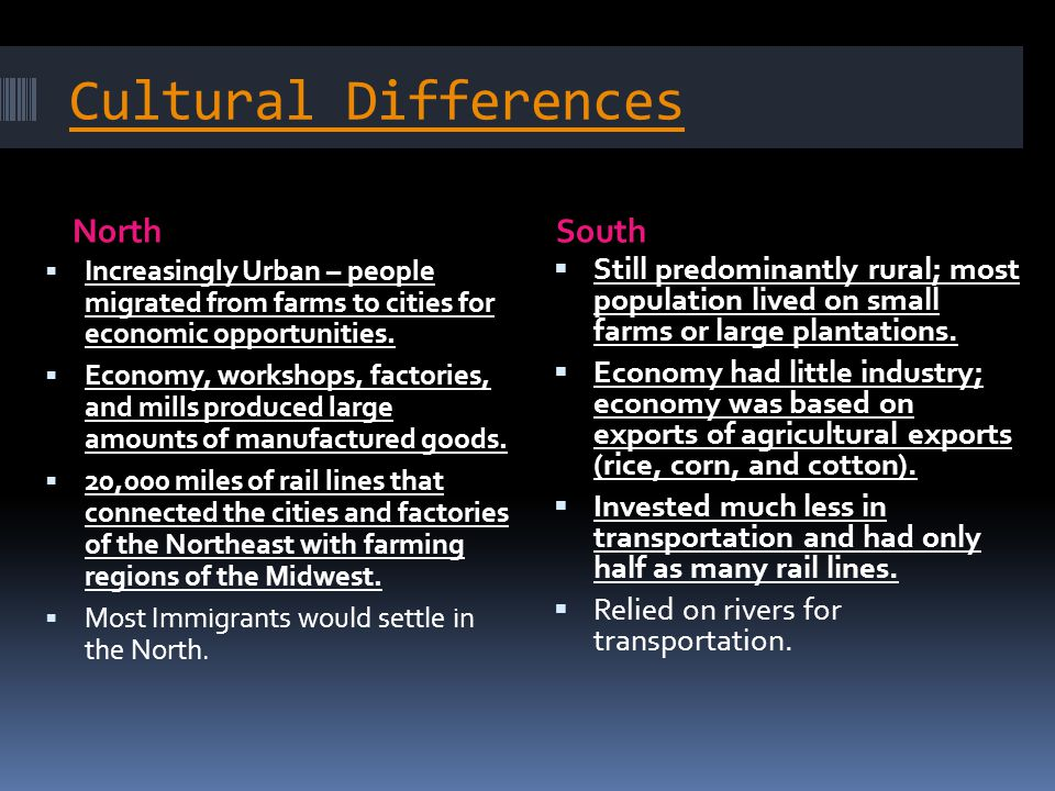 Cultural Differences NorthSouth  Increasingly Urban – people migrated from farms to cities for economic opportunities.  Economy, workshops, factorie