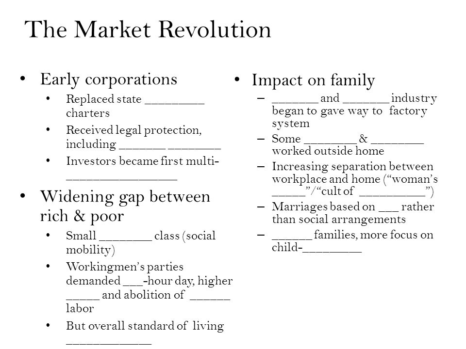 Early corporations Replaced state _________ charters Received legal protection, including _______ ________ Investors became first multi- _________________ Widening gap between rich & poor Small ________ class (social mobility) Workingmen's parties demanded ___-hour day, higher _____ and abolition of ______ labor But overall standard of living _____________ The Market Revolution Impact on family – _______ and _______ industry began to gave way to factory system – Some ________ & ________ worked outside home – Increasing separation between workplace and home ( woman's _____ / cult of __________ ) – Marriages based on ___ rather than social arrangements – ______ families, more focus on child-_________