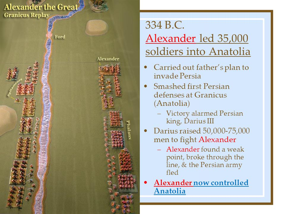 334 B.C. Alexander led 35,000 soldiers into Anatolia Carried out father's plan to invade Persia Smashed first Persian defenses at Granicus (Anatolia)