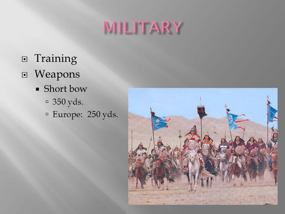  Training  Weapons  Short bow  350 yds.  Europe: 250 yds.
