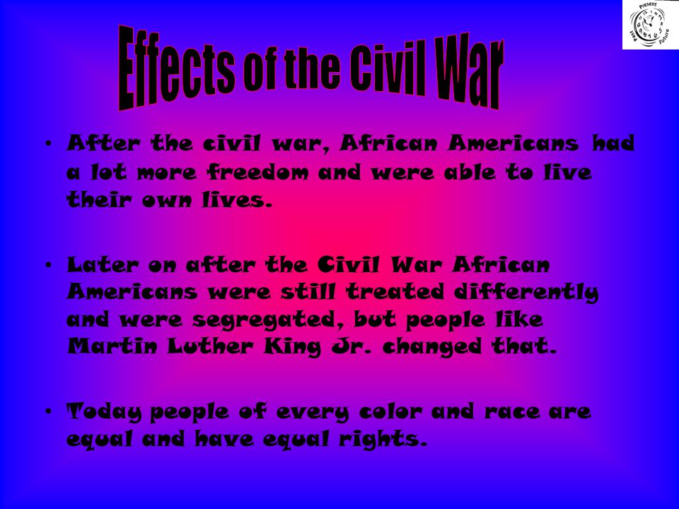 After the civil war, African Americans had a lot more freedom and were able to live their own lives.