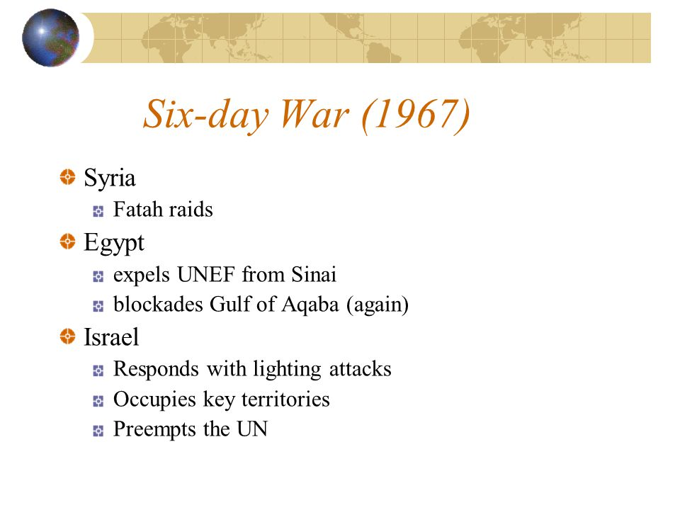 Six-day War (1967) Syria Fatah raids Egypt expels UNEF from Sinai blockades Gulf of Aqaba (again) Israel Responds with lighting attacks Occupies key t