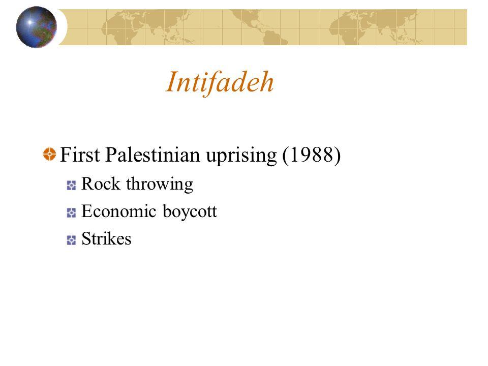Intifadeh First Palestinian uprising (1988) Rock throwing Economic boycott Strikes