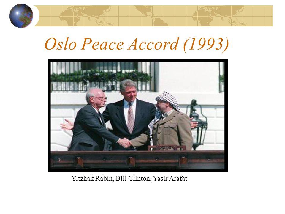Oslo Peace Accord (1993) Yitzhak Rabin, Bill Clinton, Yasir Arafat
