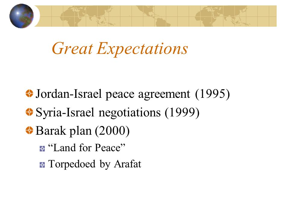 "Great Expectations Jordan-Israel peace agreement (1995) Syria-Israel negotiations (1999) Barak plan (2000) ""Land for Peace"" Torpedoed by Arafat"