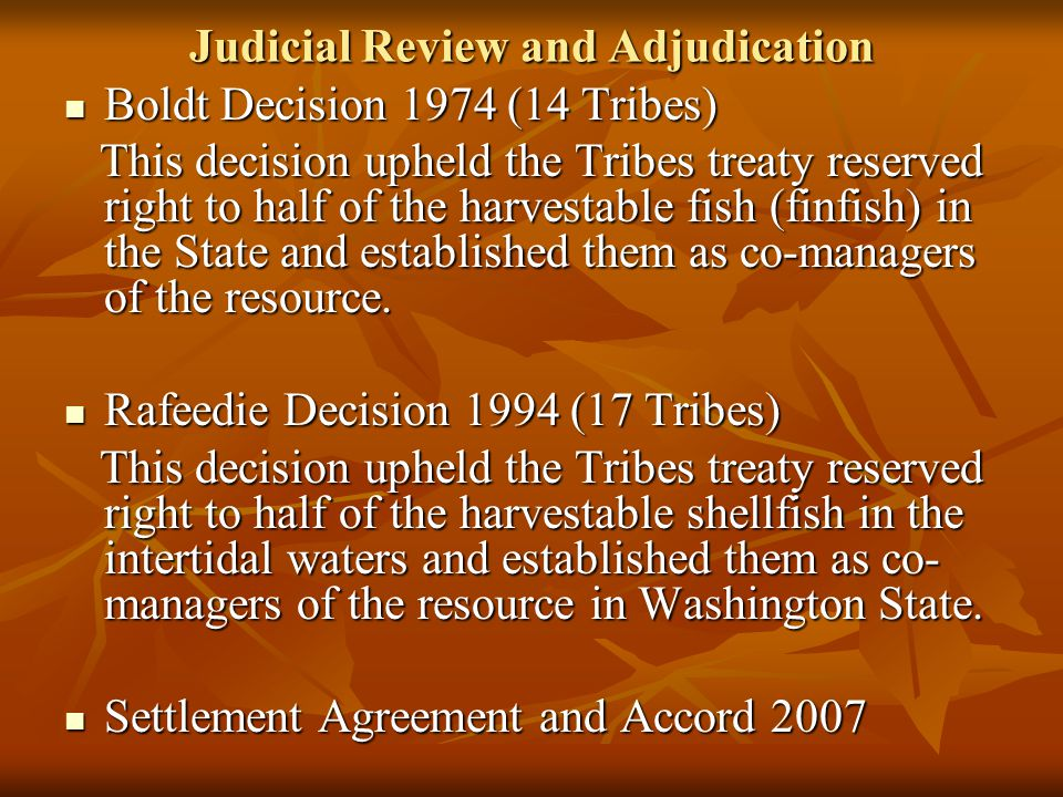 Judicial Review and Adjudication Boldt Decision 1974 (14 Tribes) Boldt Decision 1974 (14 Tribes) This decision upheld the Tribes treaty reserved right to half of the harvestable fish (finfish) in the State and established them as co-managers of the resource.