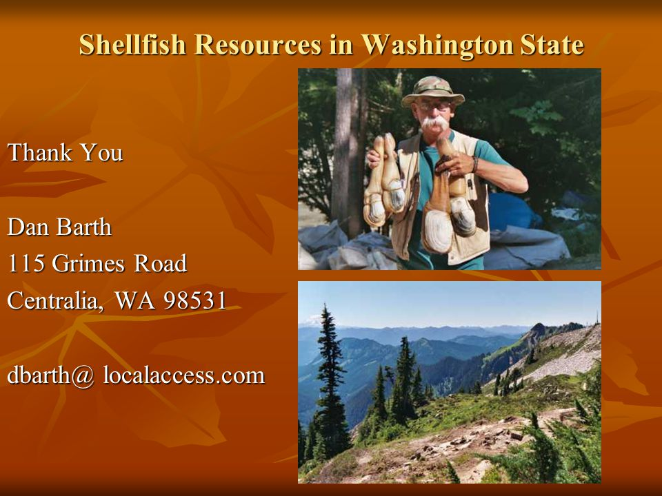 Shellfish Resources in Washington State Thank You Dan Barth 115 Grimes Road Centralia, WA 98531 dbarth@ localaccess.com