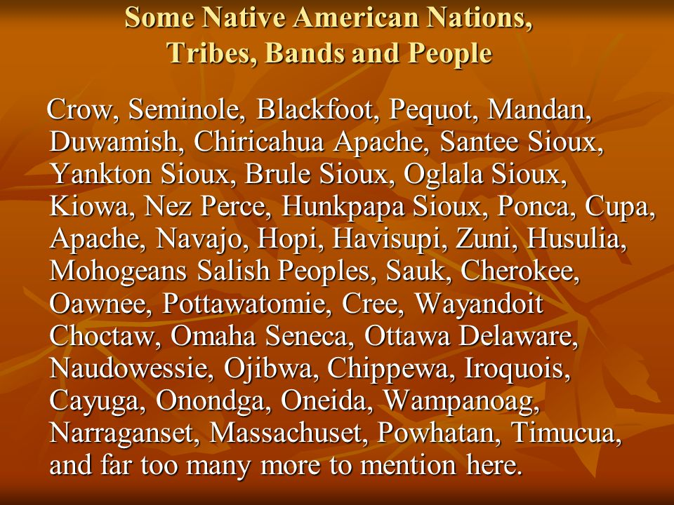 Some Native American Nations, Tribes, Bands and People Crow, Seminole, Blackfoot, Pequot, Mandan, Duwamish, Chiricahua Apache, Santee Sioux, Yankton Sioux, Brule Sioux, Oglala Sioux, Kiowa, Nez Perce, Hunkpapa Sioux, Ponca, Cupa, Apache, Navajo, Hopi, Havisupi, Zuni, Husulia, Mohogeans Salish Peoples, Sauk, Cherokee, Oawnee, Pottawatomie, Cree, Wayandoit Choctaw, Omaha Seneca, Ottawa Delaware, Naudowessie, Ojibwa, Chippewa, Iroquois, Cayuga, Onondga, Oneida, Wampanoag, Narraganset, Massachuset, Powhatan, Timucua, and far too many more to mention here.