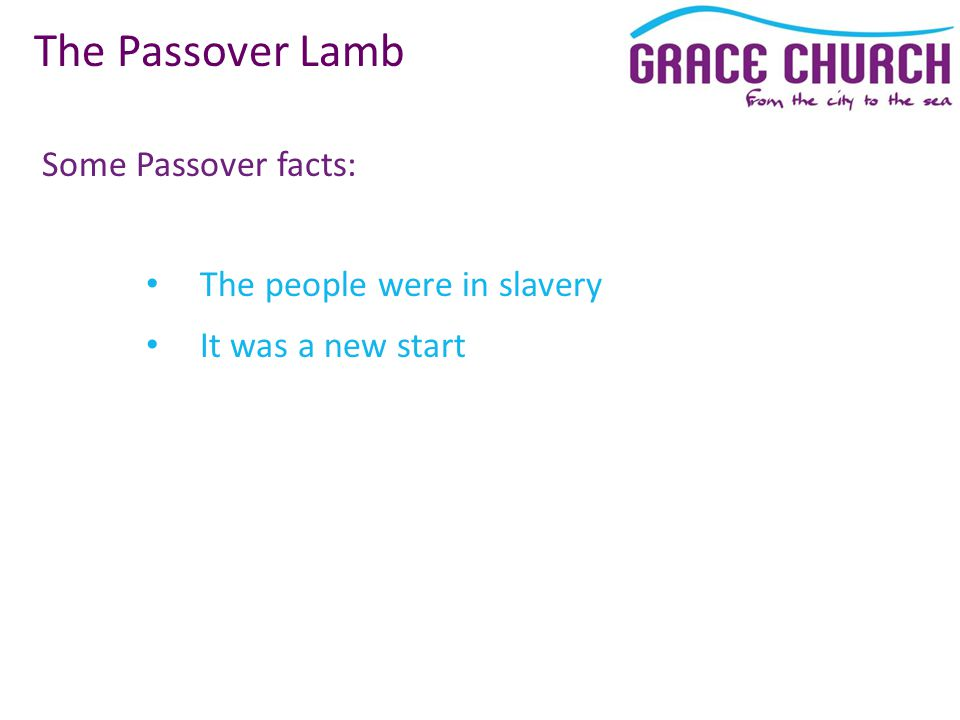 Some Passover facts: The Passover Lamb The people were in slavery It was a new start