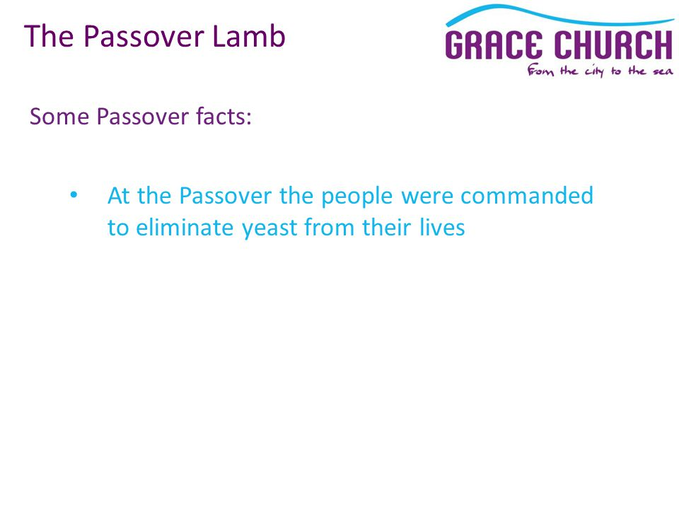 Some Passover facts: The Passover Lamb At the Passover the people were commanded to eliminate yeast from their lives