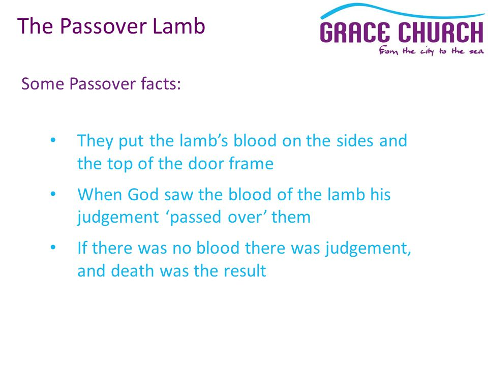 Some Passover facts: The Passover Lamb They put the lamb's blood on the sides and the top of the door frame When God saw the blood of the lamb his judgement 'passed over' them If there was no blood there was judgement, and death was the result