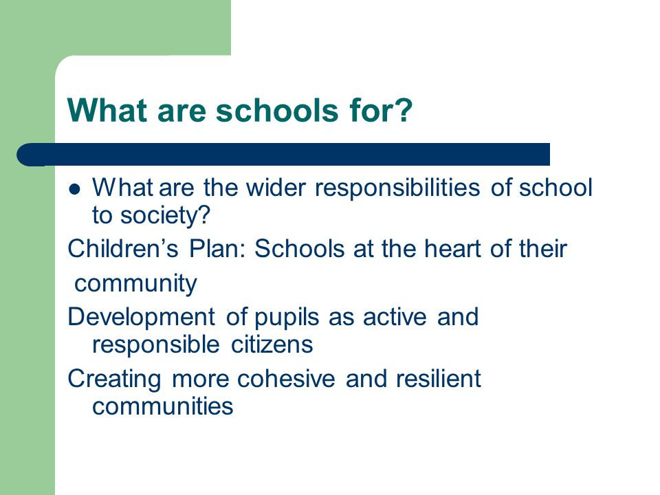 What are schools for? What are the wider responsibilities of school to society? Children's Plan: Schools at the heart of their community Development o