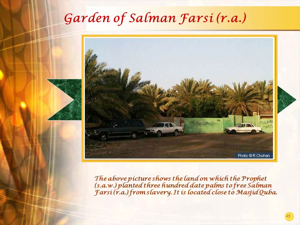 25 Garden of Salman Farsi (r.a.) The above picture shows the land on which the Prophet (s.a.w.) planted three hundred date palms to free Salman Farsi (r.a.) from slavery.