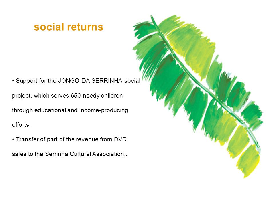 Support for the JONGO DA SERRINHA social project, which serves 650 needy children through educational and income-producing efforts.