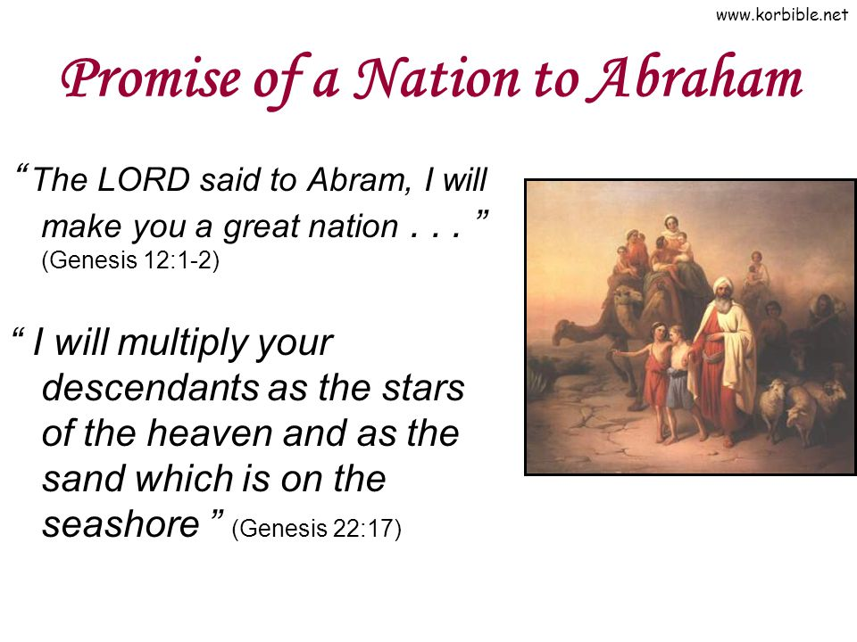 www.korbible.net Promise of a Nation to Abraham The LORD said to Abram, I will make you a great nation...