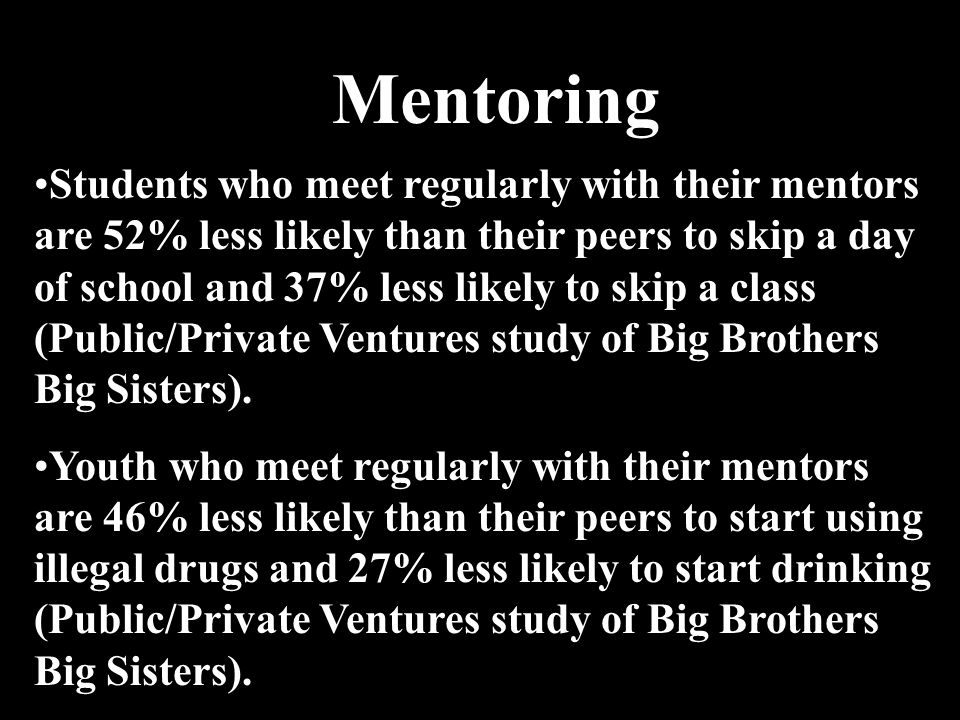 Mentoring Students who meet regularly with their mentors are 52% less likely than their peers to skip a day of school and 37% less likely to skip a cl