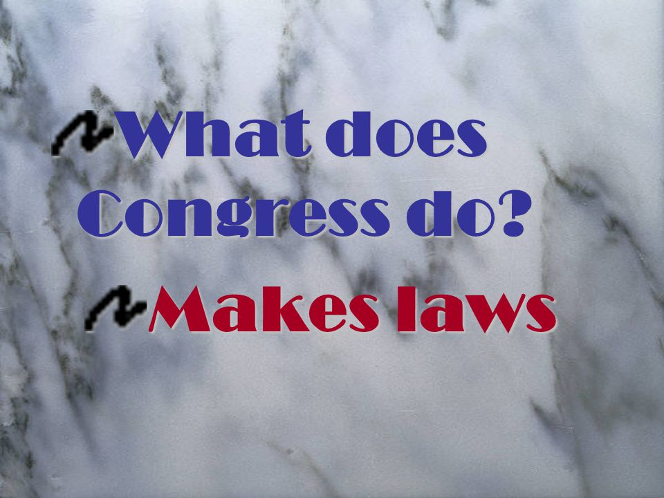 What does Congress do Makes laws