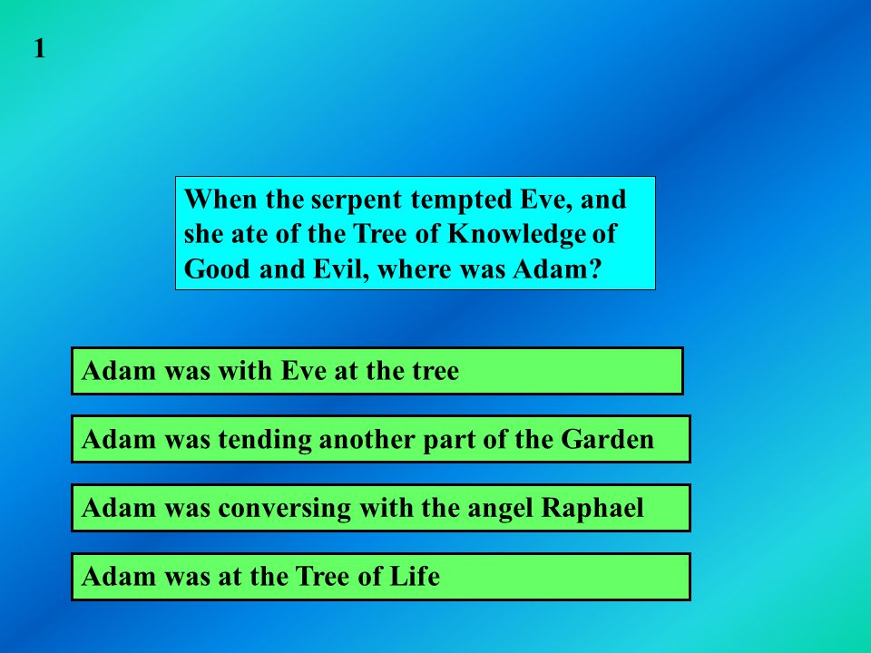 When the serpent tempted Eve, and she ate of the Tree of Knowledge of Good and Evil, where was Adam.