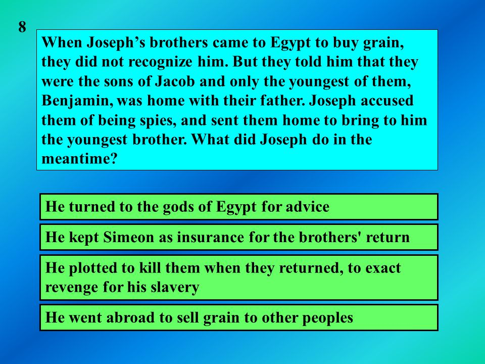 When Joseph's brothers came to Egypt to buy grain, they did not recognize him.