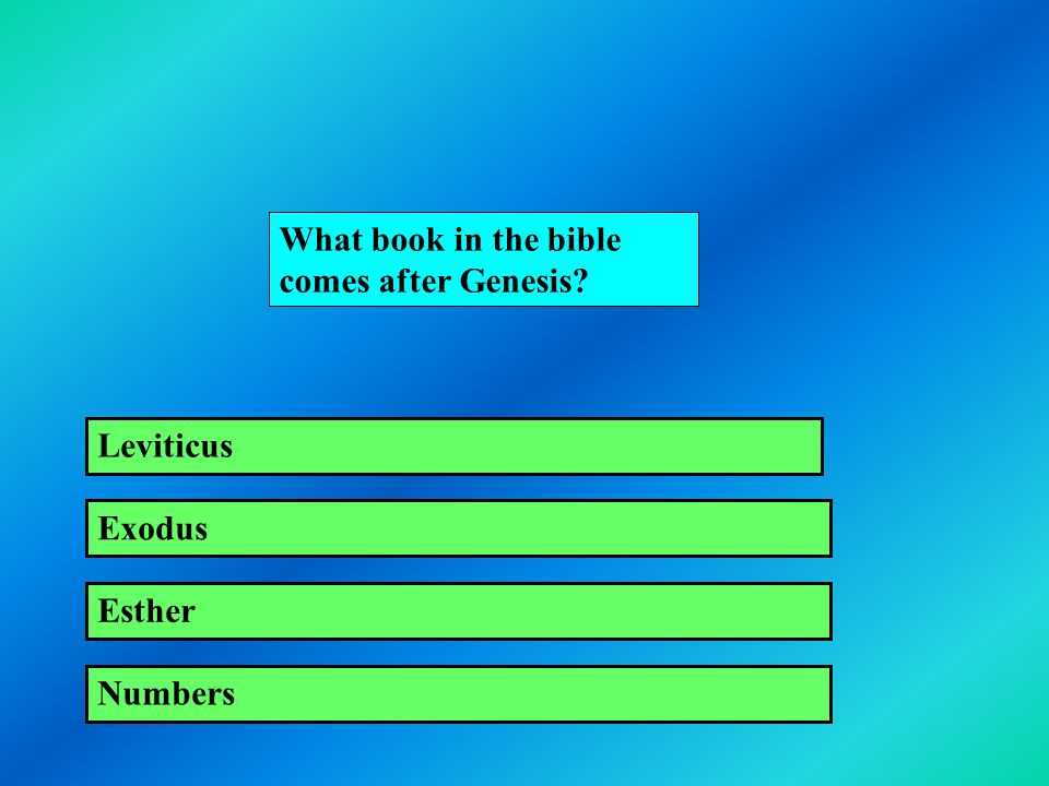 What book in the bible comes after Genesis? Leviticus Exodus Esther Numbers