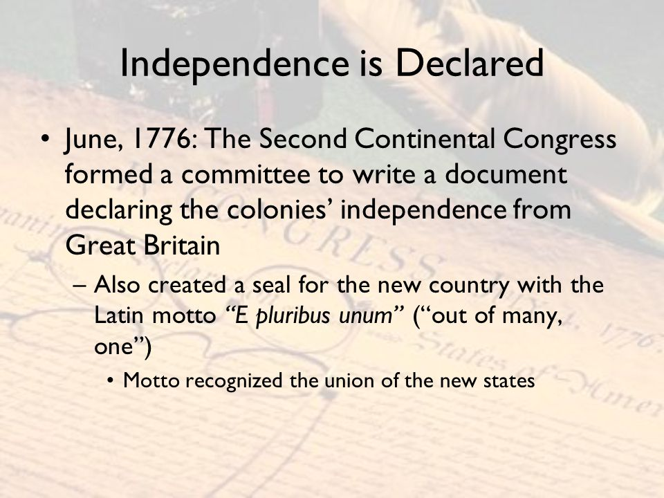 African and Native Americans The Declaration of Independence did not recognize the rights of Native Americans –American colonists were quietly encroaching on Native American lands The tendency to ignore the rights of Native Americans would develop into a pattern after the colonists won their independence from Great Britain