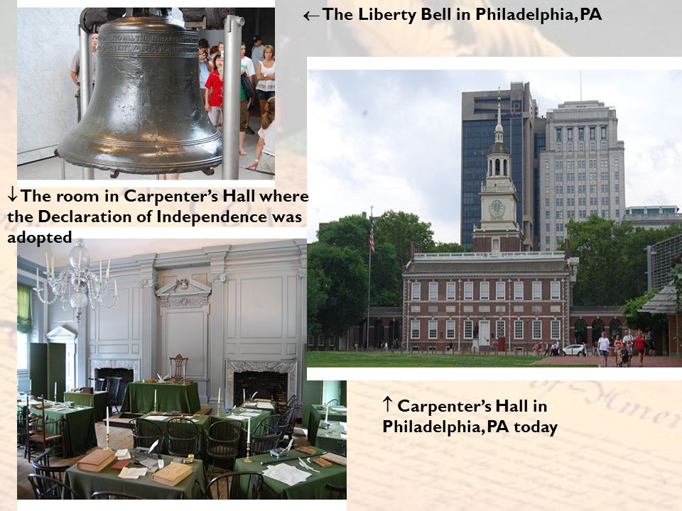  The Liberty Bell in Philadelphia, PA  The room in Carpenter's Hall where the Declaration of Independence was adopted  Carpenter's Hall in Philadel